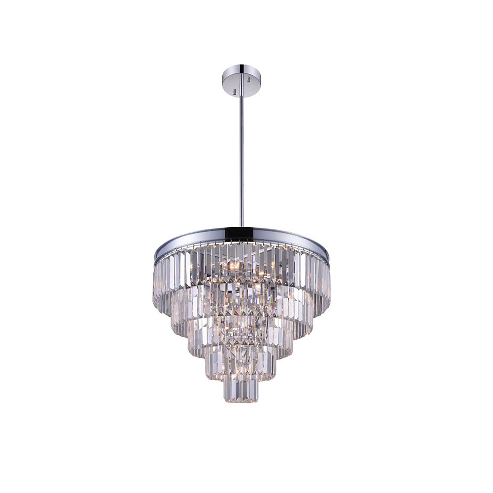 CWI Lighting Weiss 18 inch 7 Light Chandelier with Chrome Finish