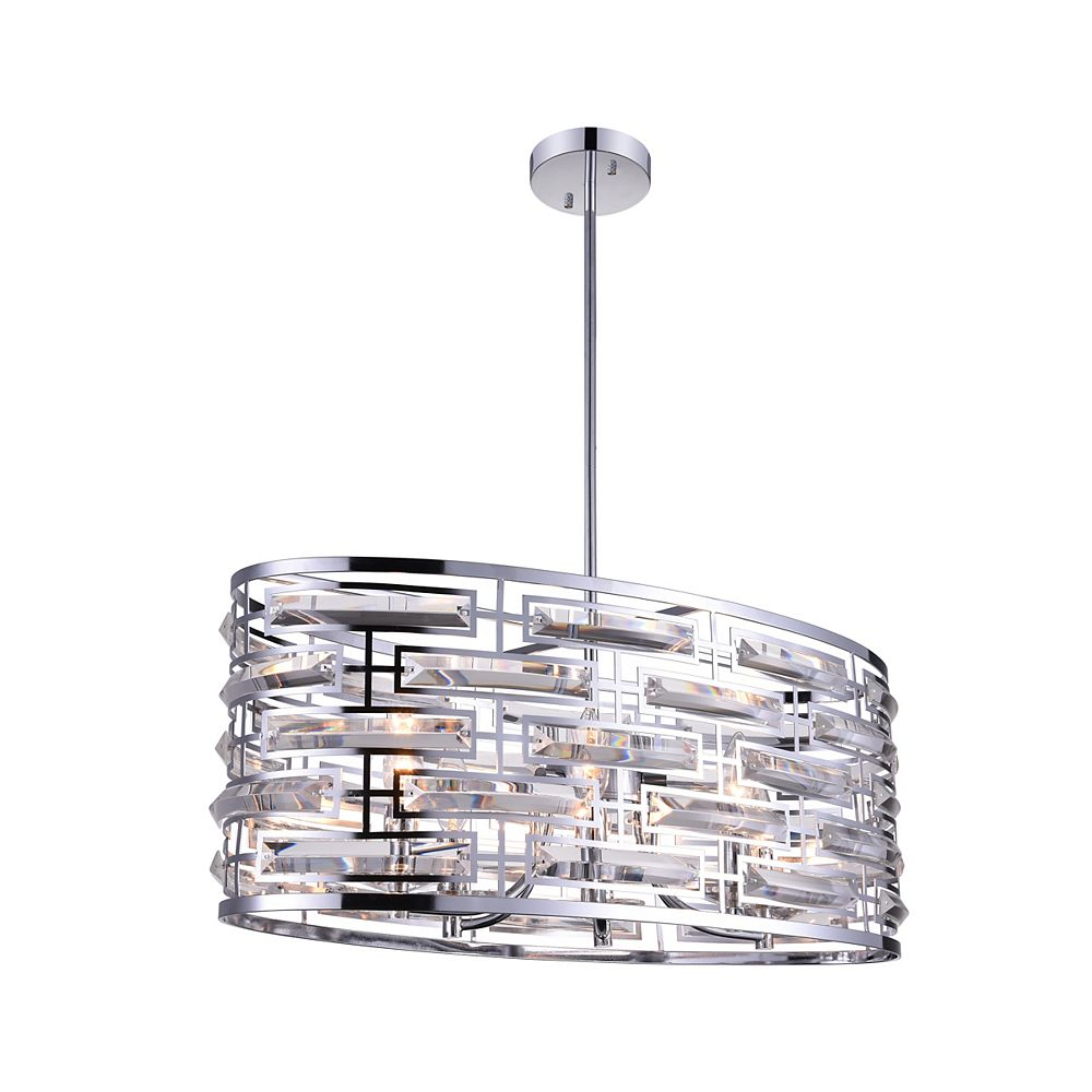CWI Lighting Petia 27 inch 6 Light Chandelier with Chrome Finish
