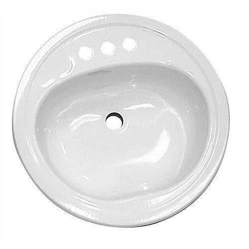 Bathroom Sink, Steel, Round, White, 19 inch