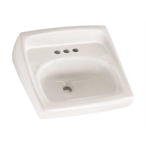 Lucerne Wall-Mounted Bathroom Vessel Sink with Faucet Holes on 4 in. Center in White