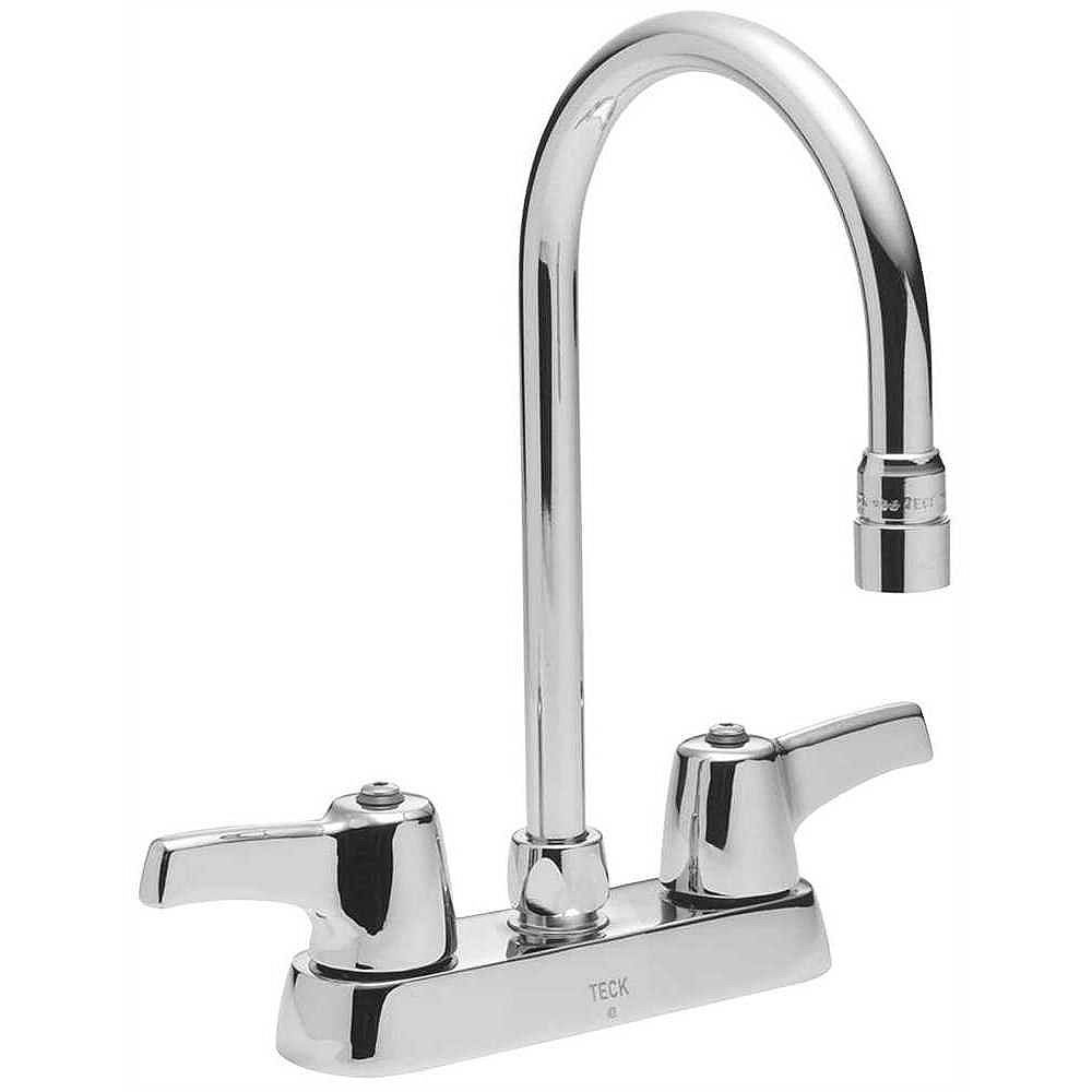 Delta Lead-Free Deck-Mounted Kitchen Faucet With Gooseneck Spout And Lever Handles, 4-Inch Center, Polished Chrome