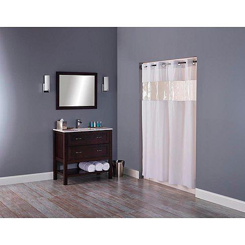 Rideau de douche hookless® avec fenêtre transparente, blanc