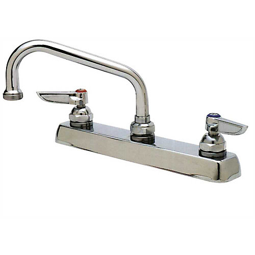 Deck Mount Faucet  With 8 inch Center And 12 inch Swing Spout, Chrome