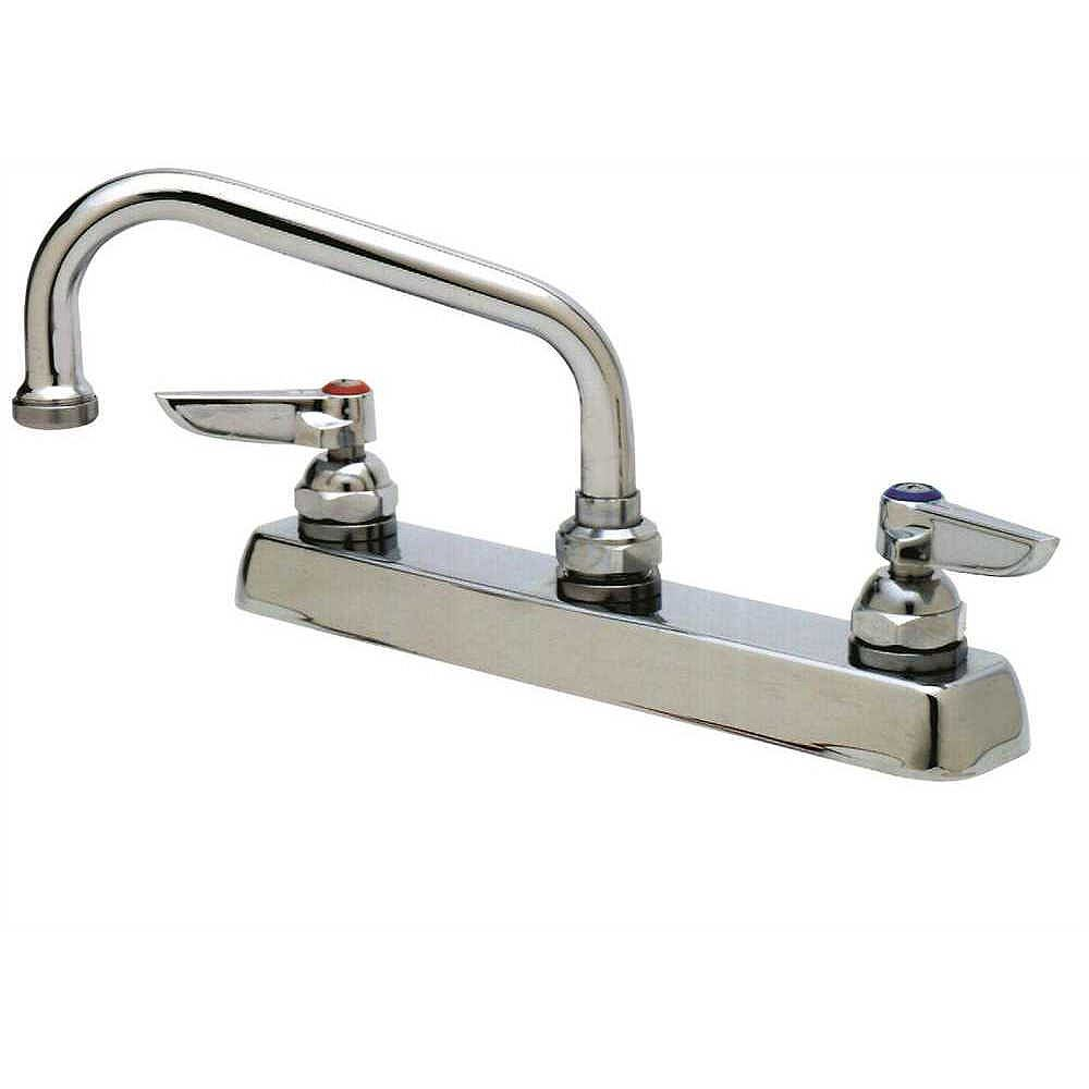 T&S BRASS Deck Mount Faucet  With 8 inch Center And 12 inch Swing Spout, Chrome