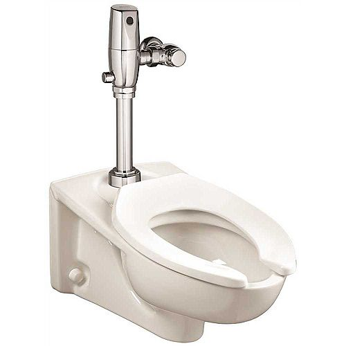 Afwall Millennium Flowise Flushometer Toilet With Everclean, Top Spud in White (Elongated toilet bowl only)