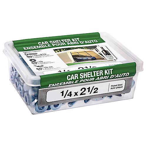 1/4 x 2-1/2-inch Car Shelter Kit with Drive Bit - 150pcs