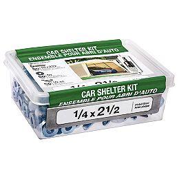 """Kit d'abris de voiture 1/4"""" x 2-1/2"""" avec embout d'entraînement - 150pcs"""
