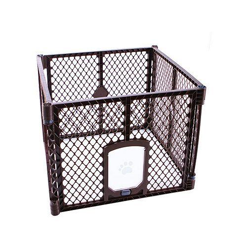 Barrière pour animaux Passage 4-panneaux - Brun