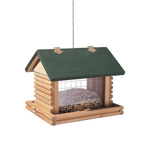 Large Hanging Log Cabin Birdfeeder - Green/Natural
