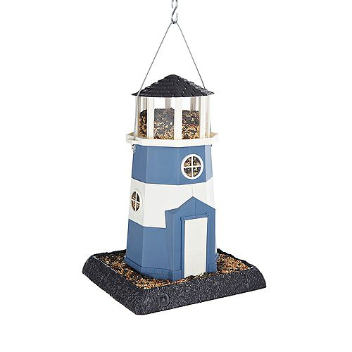 Large Lighthouse Birdfeeder - Blue (Plastic)