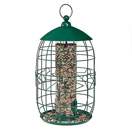 Squirrel-Free Tube Birdfeeder - Green (Metal)