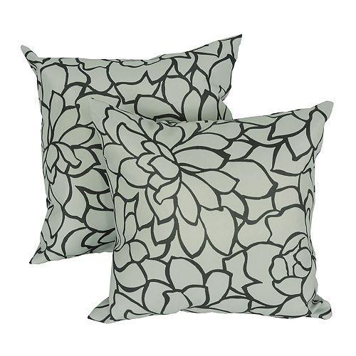 Caddo Coussin à Imprimé Floral Modern, 17x17 po, gris/noir