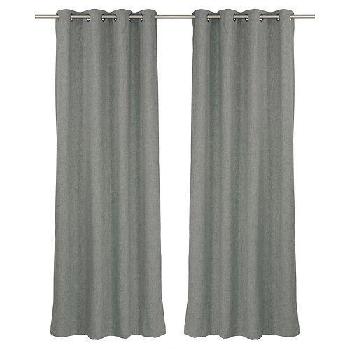 Leisure une paire de rideaux à illets apparence laine 54 x 95 po, loup gris
