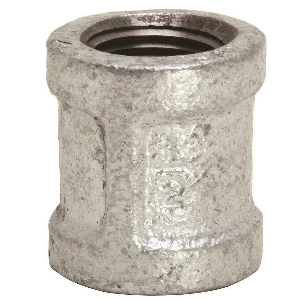 Proplus Galvanized Malleable Fitting Coupling, 1/2 inch Lead Free