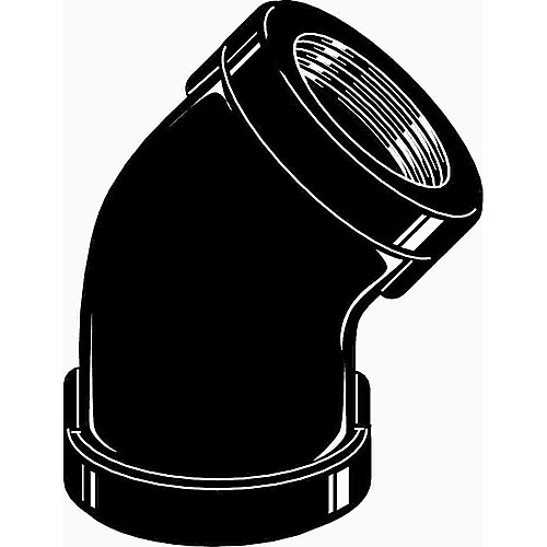 Proplus Black Malleable 45 Degree Elbow, 1/2 In.