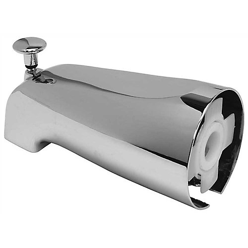 Bathtub Spout With Top Diverter And Adjustable Slide Connector, 1-3/4 inch Telescoping Fit, Chrome