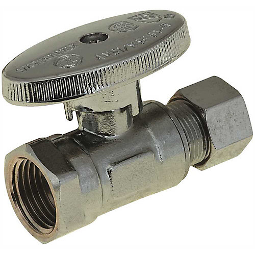 1/4 Turn Straight Stop, 3/8 inch Ips X 3/8 inch Compression, Lead Free