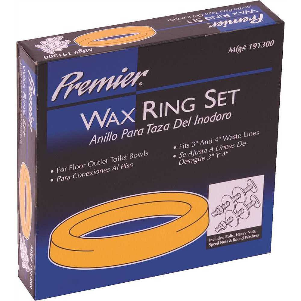 PREMIER Wax Bowl Ring Set With Bolts, Fits 3 To 4 inch Waste Lines
