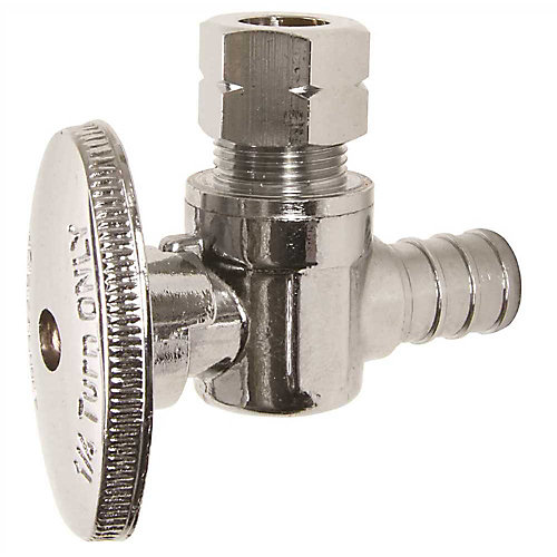 Pex Brass Angle Stop Valve, 1/2 inch Barb X 3/8 inch Od Compression, Lead Free