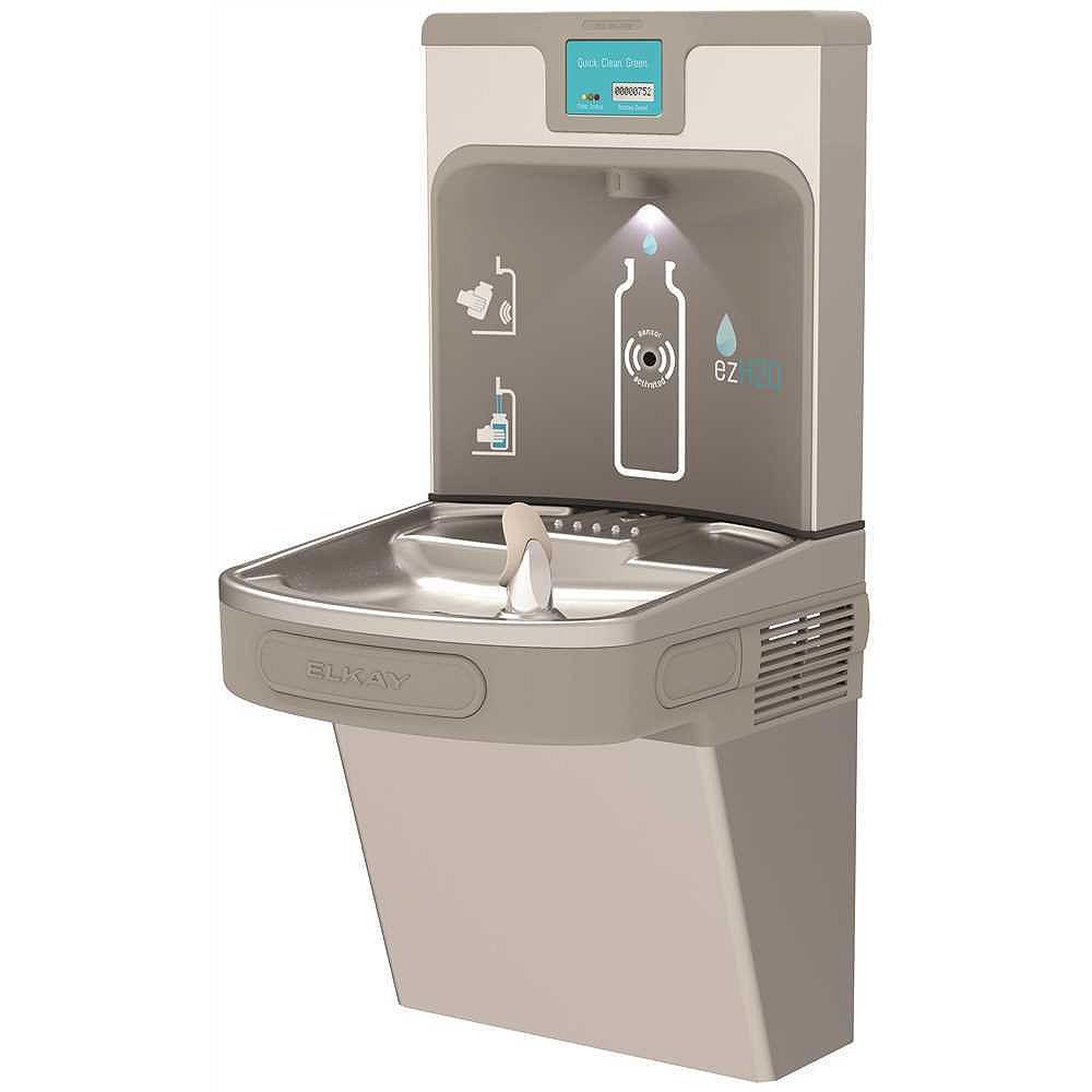 Elkay Enhanced EZH2O Bottle Filling Station and Drinking Fountain in Light Grey, Filtered 8 GPH