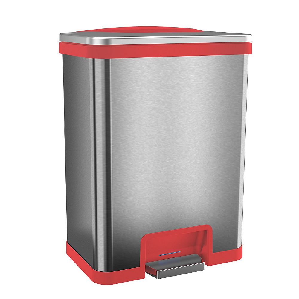 Halo TapCan 13 Gallon Pedal Sensor Trash Can with Deodorizer (Red Trim)