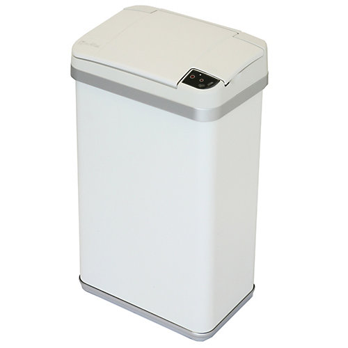 Multifunction Sensor Trash Can, Matte Finish Pearl White, 4 Gallon, 8.25-inch Opening