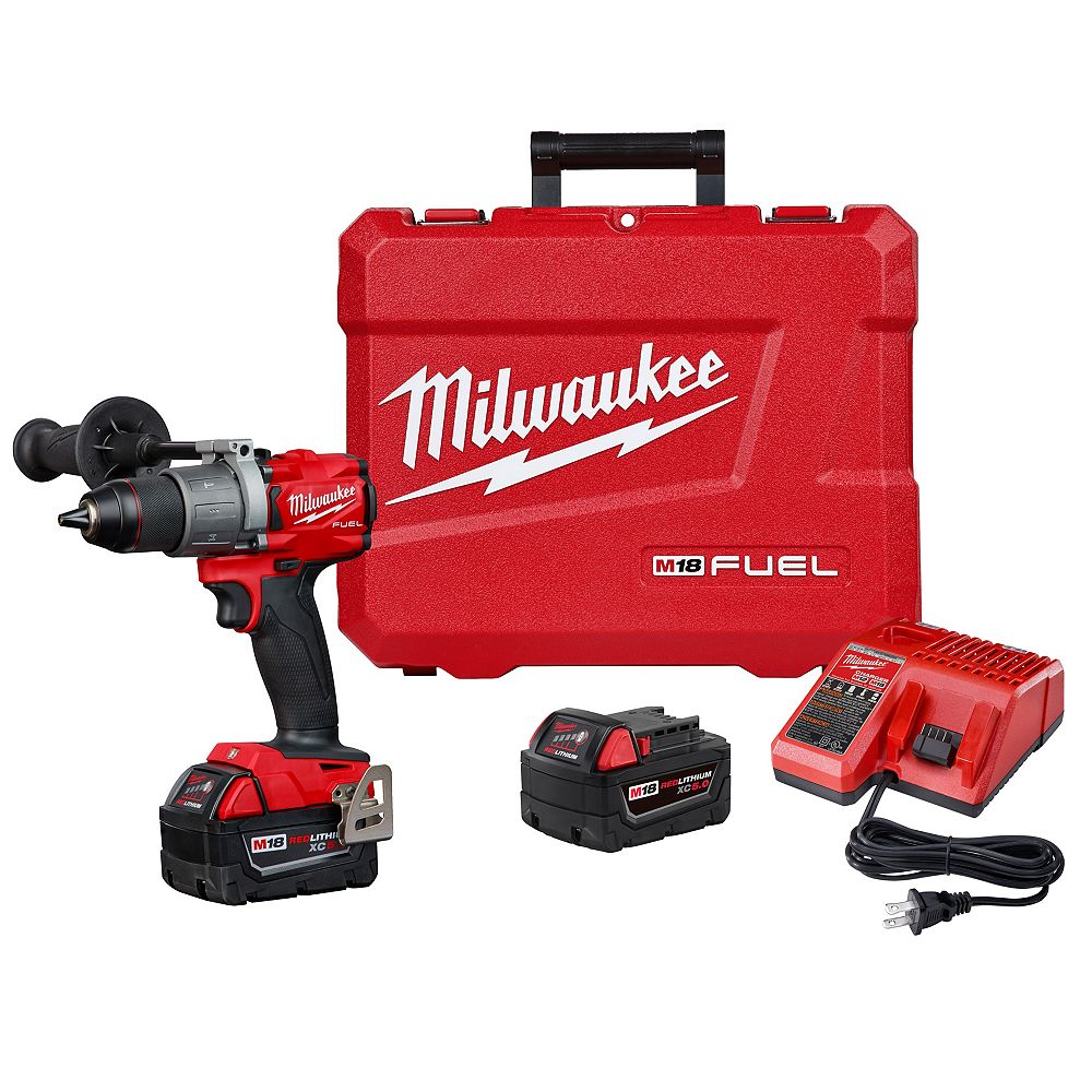 Milwaukee Tool M18 FUEL 18-Volt Lithium-Ion Brushless Cordless 1/2 inch Hammer Drill/Driver W/(2) 5.0Ah Batteries