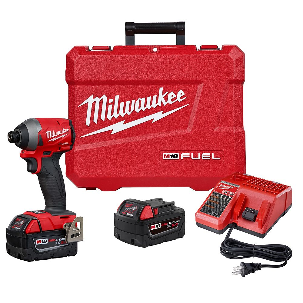 Milwaukee Tool M18 FUEL 18-Volt Lithium-Ion Brushless Cordless 1/4 inch Hex Impact Driver Kit W/(2) 5.0Ah Batteries