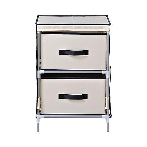 2-Drawer Fabric Dresser, Beige