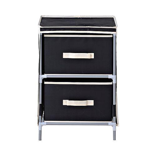 2-Drawer Fabric Dresser, Black