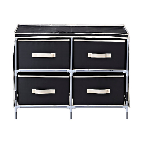 4-Drawer Fabric Dresser, Black