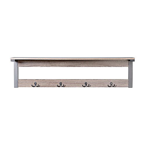 1-Shelf, 4-Hook Wall Mounted Entry Way Coat Rack