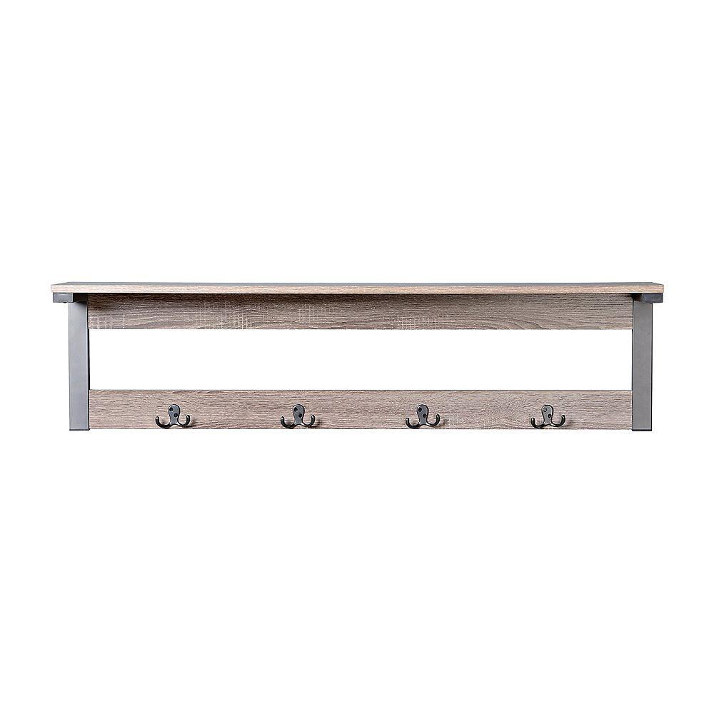 Homestar 1-Shelf, 4-Hook Wall Mounted Entry Way Coat Rack