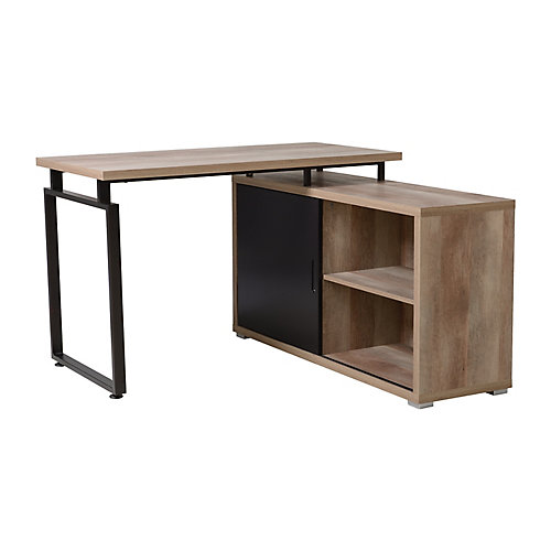 L Shaped Desk with Sliding Door Bookcase