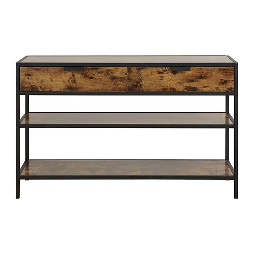 Metal and Wood Console Table