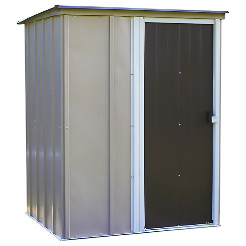 Arrow Brentwood 5 ft. x 4 ft. Pent Roof Steel Storage Shed in Emery Grey and Eggshell