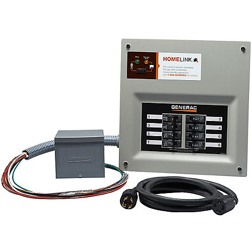 Homelink Manual Transfer Switch 30 amp 6-8 circuit kit