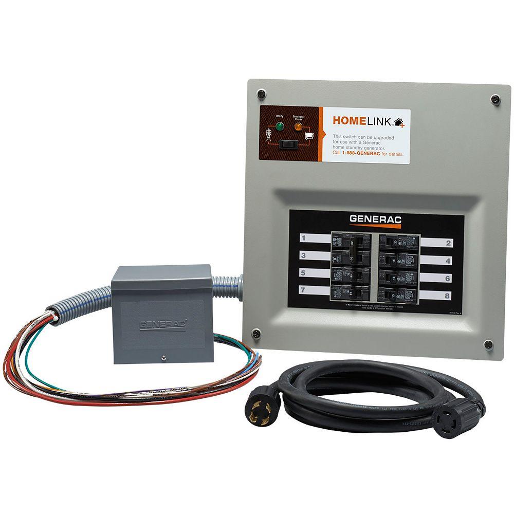 Generac Homelink Manual Transfer Switch 30 amp 6-8 circuit kit