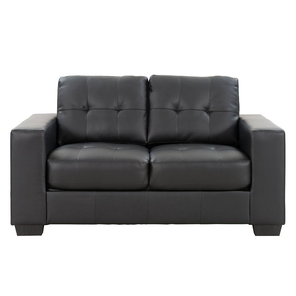 Corliving ClubTufted Black Bonded Leather Loveseat