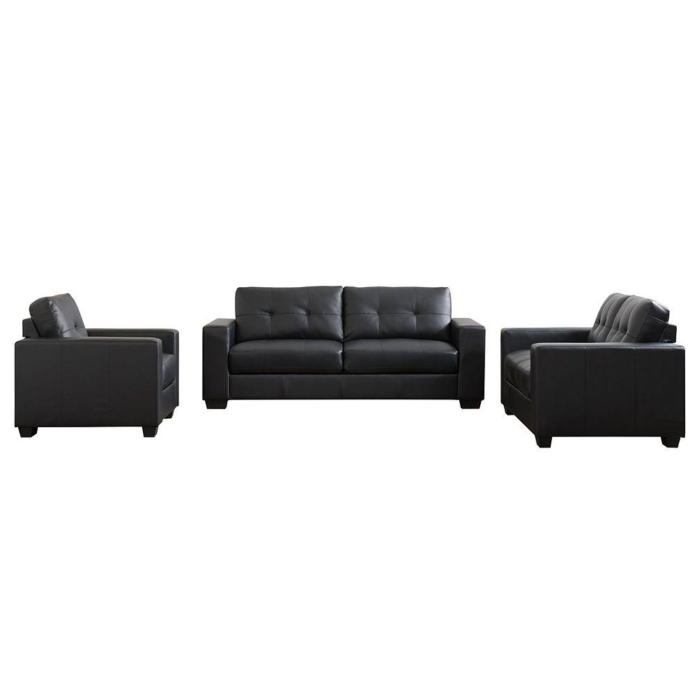 Corliving Club 3-Piece Tufted Black Bonded Leather Sofa Set