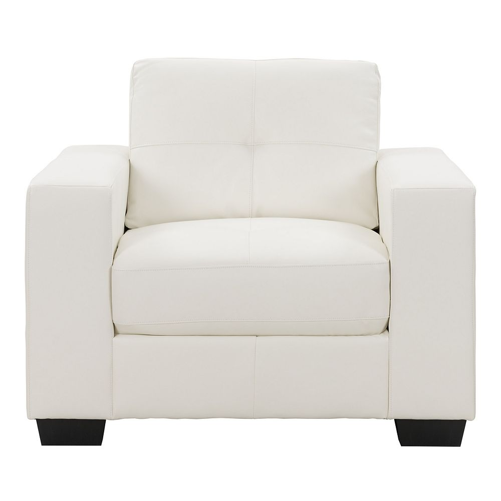 Corliving Club Tufted White Bonded Leather Chair