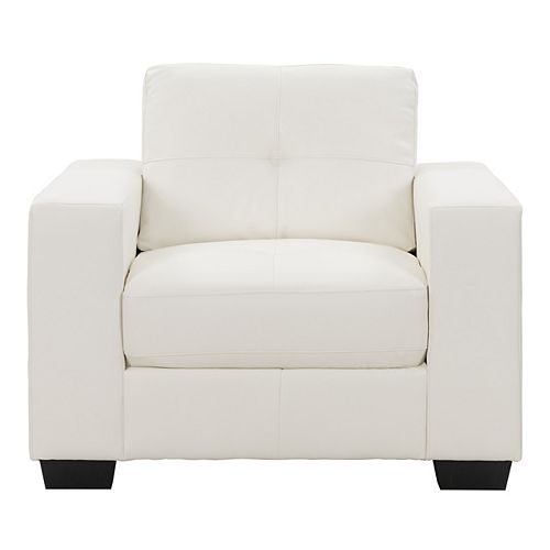 Club Tufted White Bonded Leather Chair
