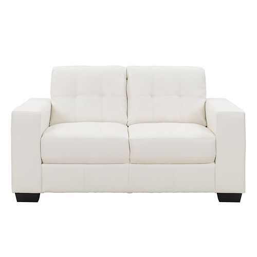 Club Tufted White Bonded Leather Loveseat