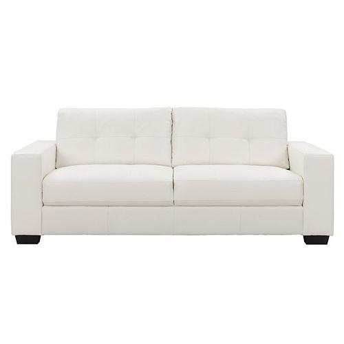 Club Tufted White Bonded Leather Sofa