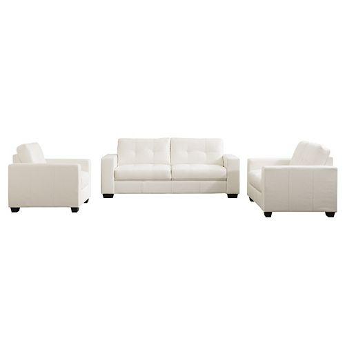 Club 3-Piece Tufted White Bonded Leather Sofa Set