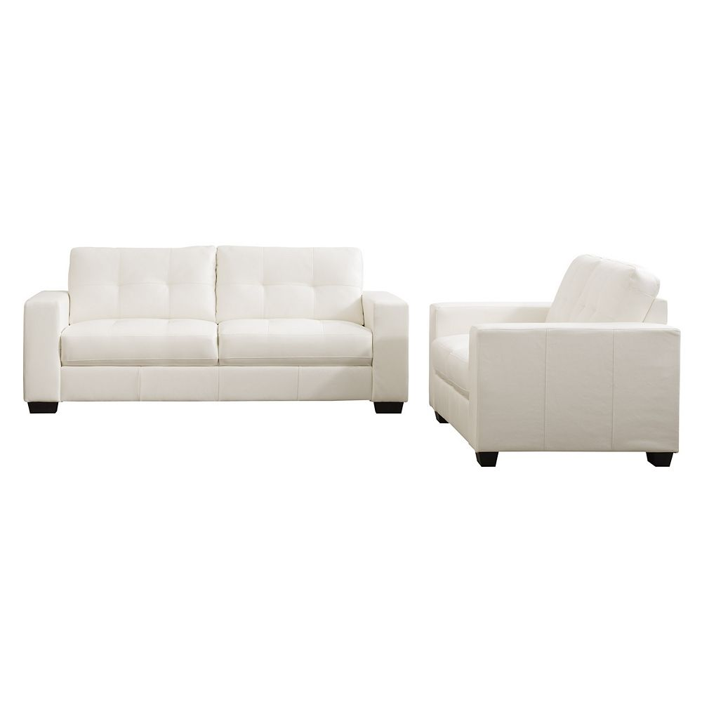 Corliving Club 2-Piece Tufted White Bonded Leather Sofa Set
