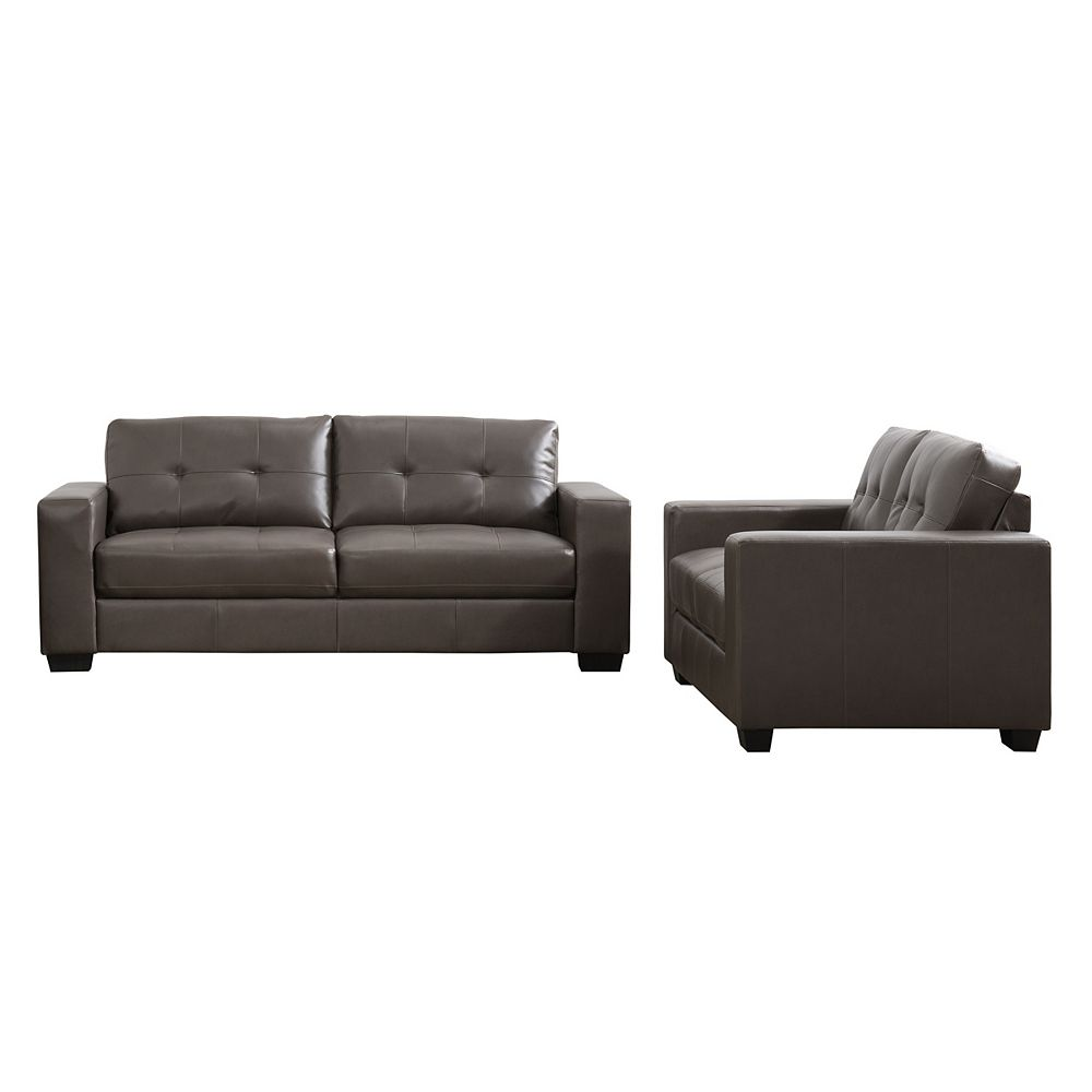 Corliving Club 2-Piece Tufted Brownish-Grey Bonded Leather Sofa Set