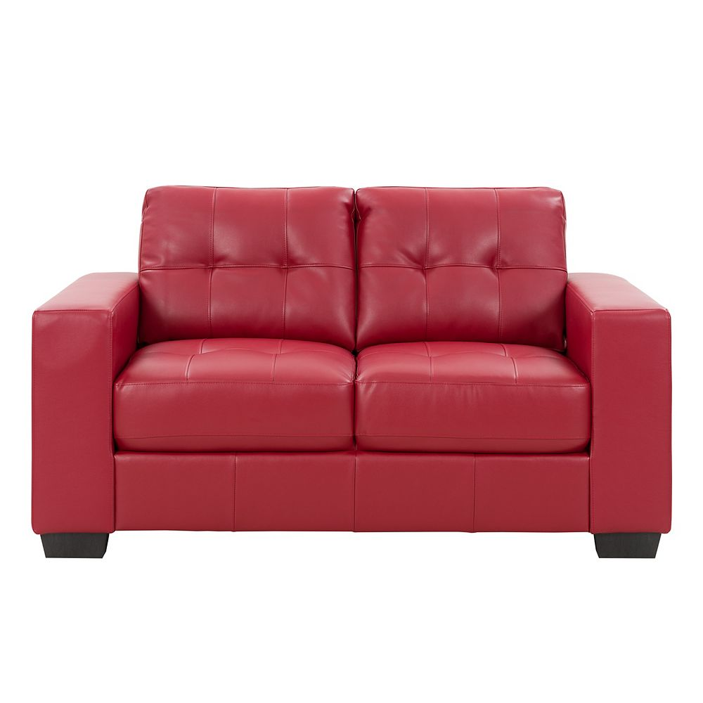 Corliving Club Tufted Red Bonded Leather Loveseat