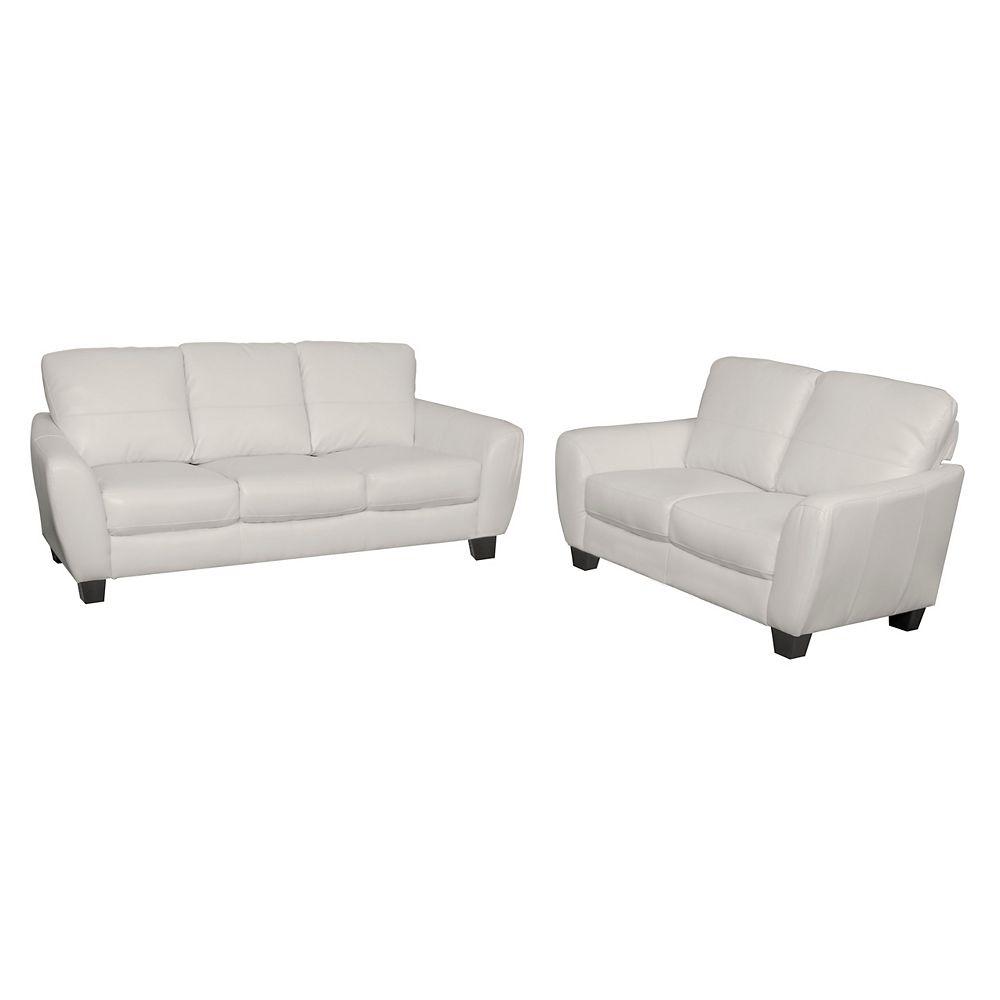 Corliving Jazz 2-Piece White Bonded Leather Sofa Set