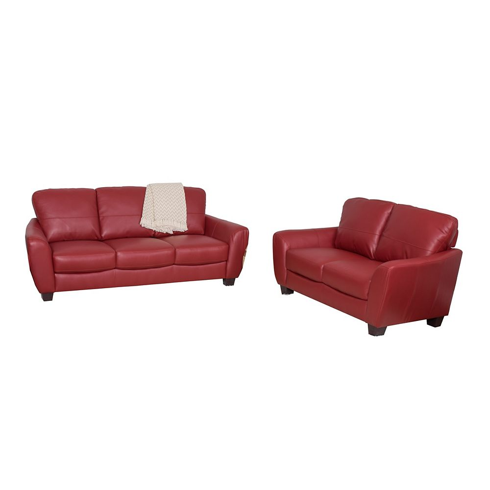 Corliving Jazz 2-Piece Red Bonded Leather Sofa Set